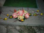 Wiązanka sztuczna magnolia i chryzantema pieżasta