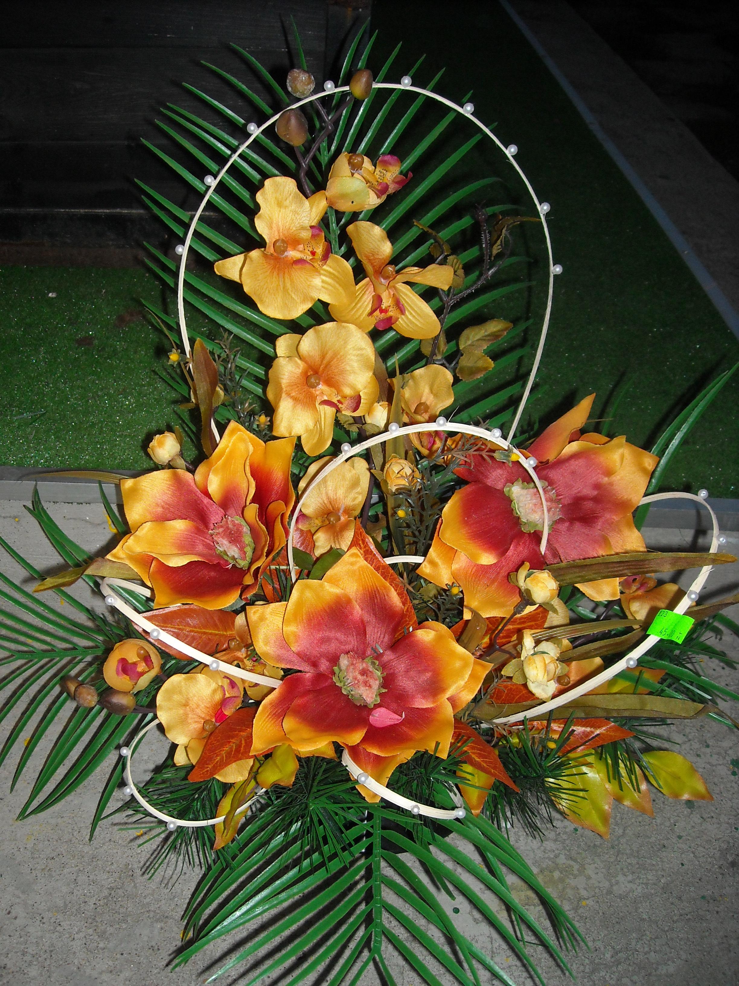 Wiązanka sztuczna magnolia i storczyk 2
